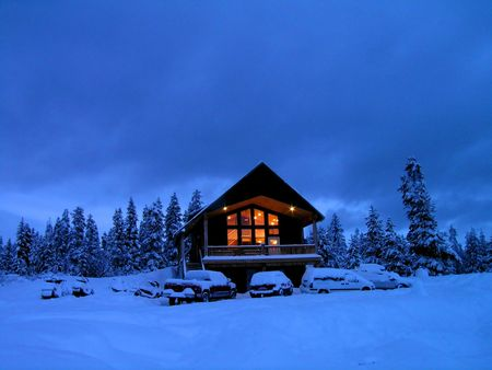 Cabin in stand of pine trees covered in snow in the winter Imagens