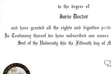 doctorate: Close up of Juris Doctorate law degree certificate Stock Photo