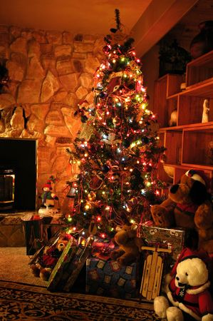 Front room decorated for christmas with christmas tree stockings and fireplace Stock Photo - 687639