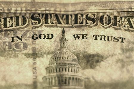 gods: Closeup of cash bill with words In God We Trust