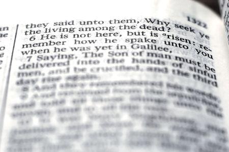 risen: Detail closeup of scriptures of Risen Lord