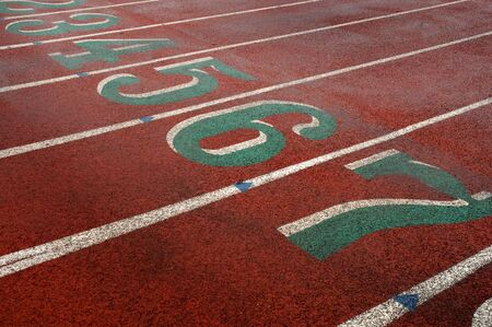 Track and field lanes and numbers photo