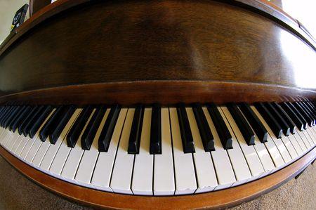 extreme angle: Extreme wide angle view of piano keys