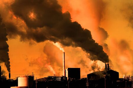 disregard: Detail of pollution coming from factory smoke stacks Stock Photo