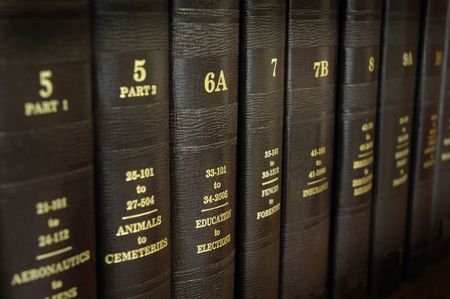 volumes: Close up of several volumes of law books of codes and statutes Stock Photo