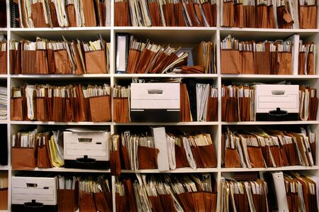 Office shelves full of files and boxes Stock Photo - 2060253