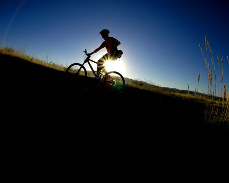 Mountain biking up a trail in the mountains Stock Photo - 2100369
