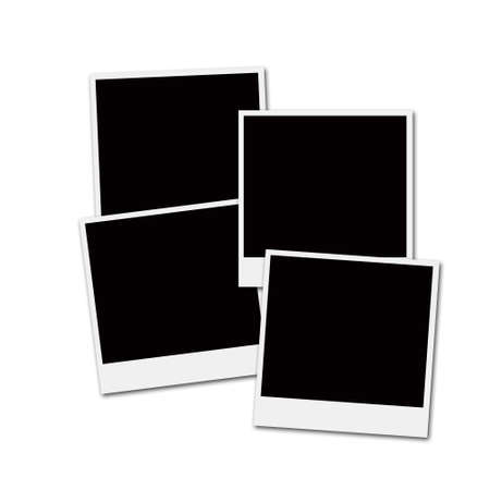 Several instant film frames on an isolated white background