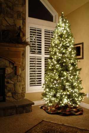 camino natale: Camera anteriore della casa accanto alla finestra decorato per Natale con albero