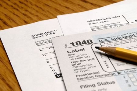 Detail closeup of current tax forms and pencil Stock Photo - 2805989