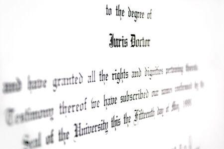 giurisprudenza: Primo piano del diritto Juris Doctorate diploma di laurea