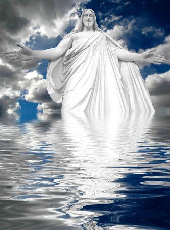 seigneur: J�sus refl�te dans l'eau avec des nuages orageux en arri�re-plan  Banque d'images