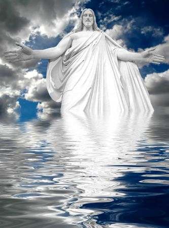 renewal: Jesus reflected in water with stormy clouds in background Stock Photo