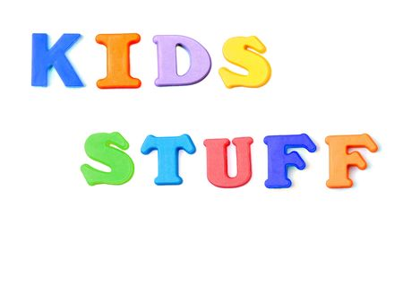Colored letters spelling the words Kids Stuff