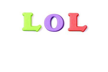 laughing out loud: Colorado palabras de ortograf�a de la palabra LOL re�r a carcajadas  Foto de archivo