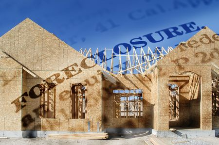 foreclose: New home being built and word foreclosure accross the front Stock Photo