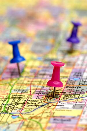 planned: Map with thumb tacks showing locations Stock Photo