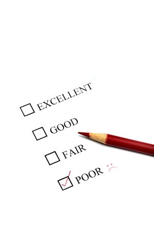 Checklist of Options from Excellent to Poor Stock Photo - 3839358