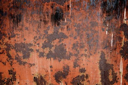 flaked: Detailed closeup of colorful rusty sheet of old metal Stock Photo