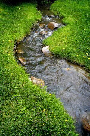 El agua de los ríos que fluyen pasado rocas y piedras en el prado verde Foto de archivo - 4539932