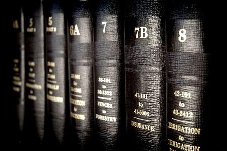 ley: Cerca de varios vol�menes de libros de leyes de los c�digos y estatutos