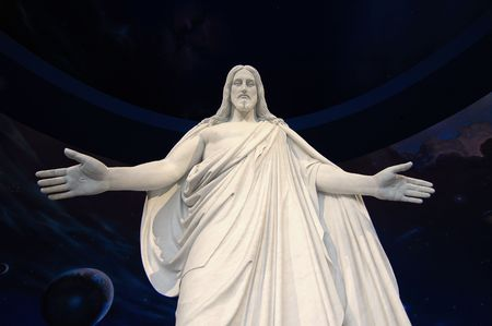 artistic jesus: Statue of Jesus Christ with hands outstretched Stock Photo