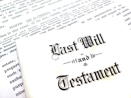 testament: Envelope with Last Will and Testament Stock Photo