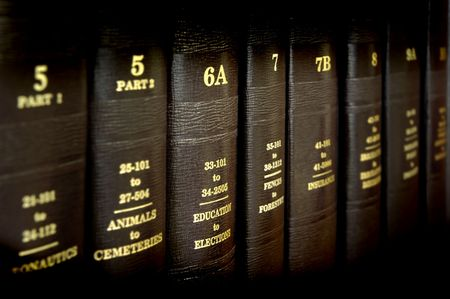 picture book: Close up of several volumes of law books of codes and statutes Stock Photo