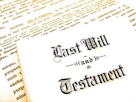 gifting: Envelope with Last Will and Testament Stock Photo