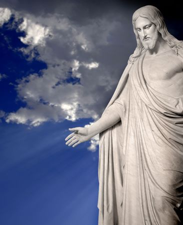 Statue of Jesus Christ with hands outstretched Banco de Imagens