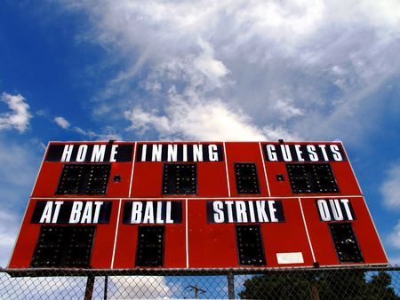 score board: Baseball scorboard with bat ball and strike zones and blue sky