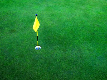 par: Flag and hole for golf on green grass