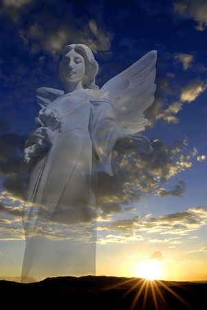 praying angel: Sunset with sun and clouds in orange and golden light with Angel in background