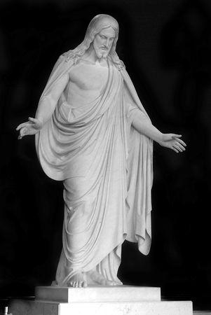 Standbeeld van Christus met hand uitgestoken  Stockfoto