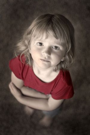 Little girl portrait focused on eyes and face photo