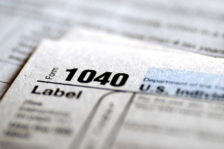 Detail closeup of current tax forms for IRS filing Stock fotó