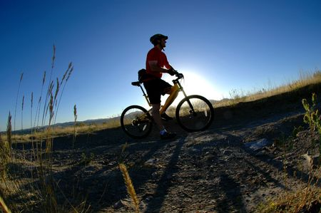 Mountain biking up a trail in the mountains Stock Photo - 7572763