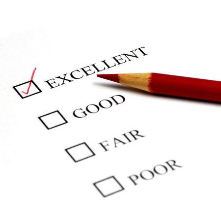 Lista de comprobación de opciones de excelente a pobres