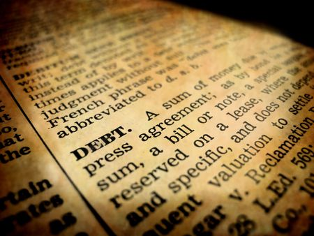 definition define: Definition of debt in dictionary book on pages with type