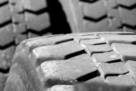 tread: Detail shot of a large tire