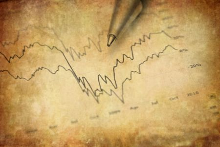 rebounding: Closeup of stock chart showing gains or regbound with pen