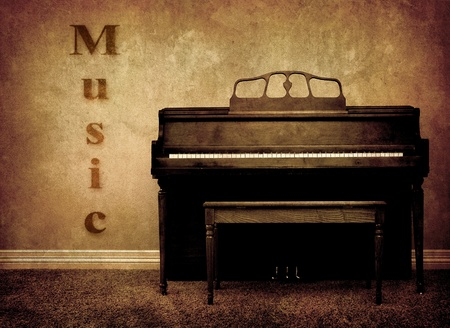 Interior view of piano and bench in a home with music on wall photo