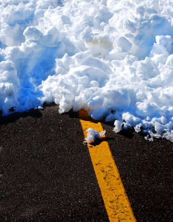road conditions: Snowy winter road with yellow line and snow drift