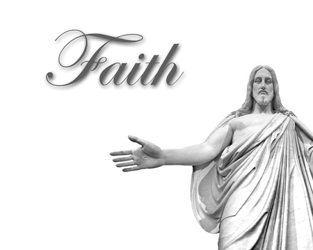 to believe: Statute of Jesus with white background and word faith Stock Photo