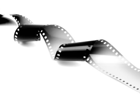 35mm film motion picture camera: Film strip isolated on white background  Stock Photo