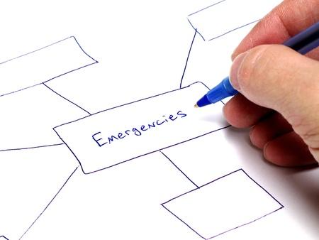 persona escribiendo: Persona escribir notas sobre papel sobre planes para situaciones de emergencia