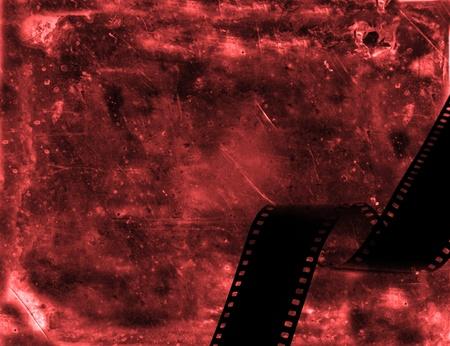 Film strip isolated on grunge background  photo