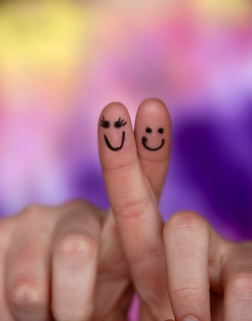 Finger faces illustrating relationship with a couple Stock Photo - 9291381