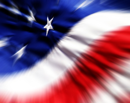 Detail closeup of American Flag with focus on one white star Imagens