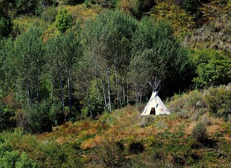 American Indian TeePee on mountainside with trees and brush around Stock Photo
